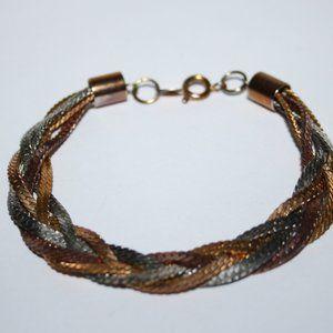 "Beautiful vintage tri gold bracelet 7.5"""